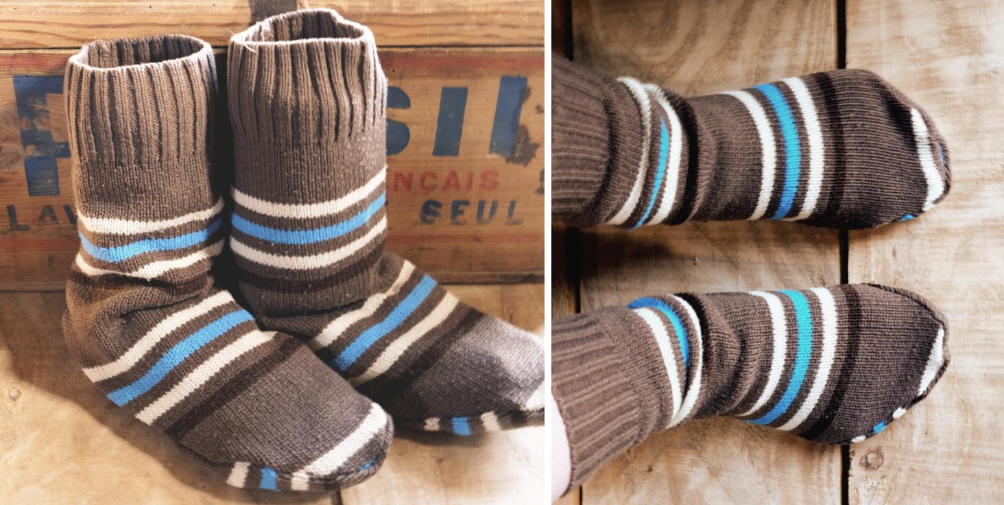 diy r cup des chaussons chaussettes en vieux pull la f e qui cloche. Black Bedroom Furniture Sets. Home Design Ideas